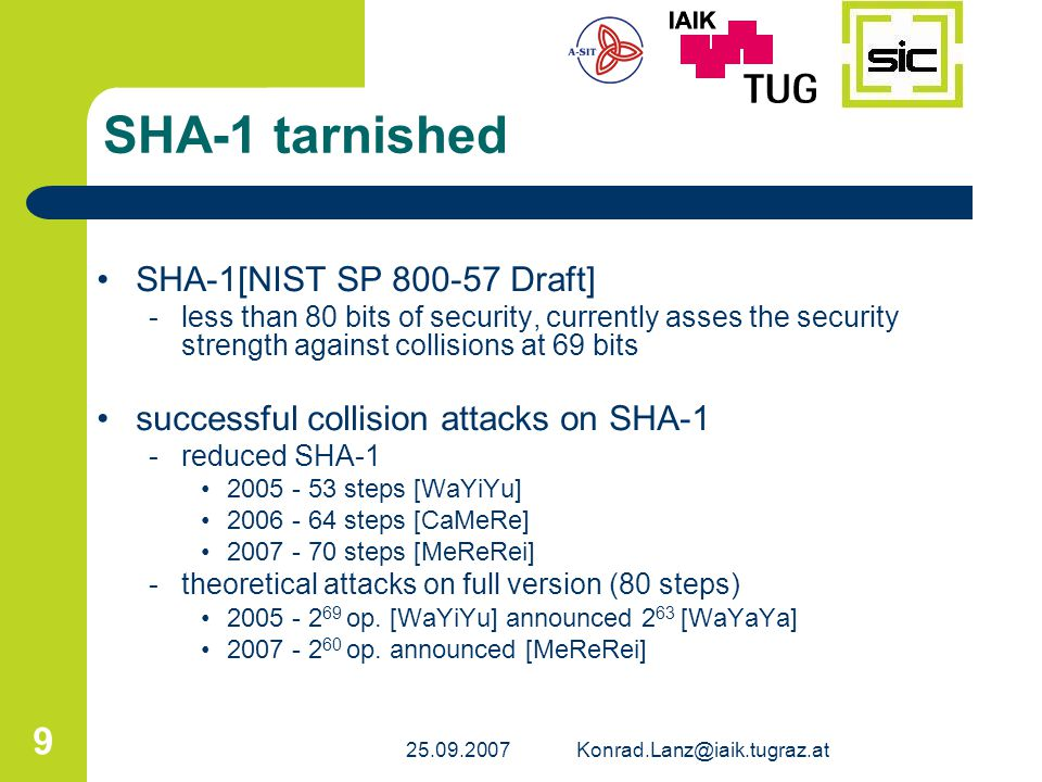 SHA-1 tarnished SHA-1[NIST SP 800-57 Draft]